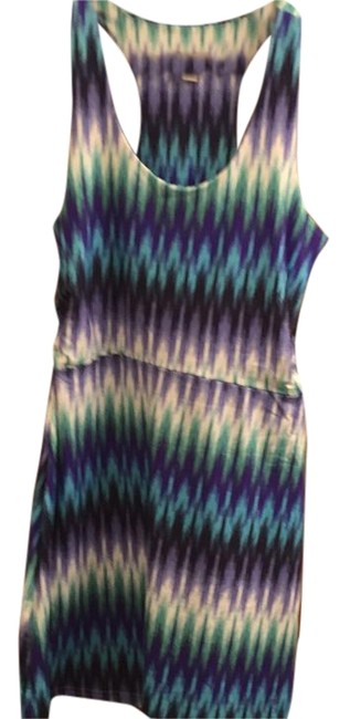 Item - Blue Green Turquoise Teal Purple White Above Knee Short Casual Dress Size 6 (S)