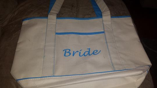 Cream and Blue Bride Beach Bag