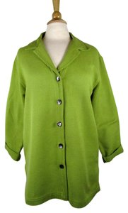 Chico's Tunic Side Slits Cotton Button Down Shirt Green