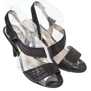 Nina Faux Snakeskin Black Sandals
