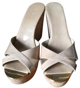 Jimmy Choo Sandal Espadrille Brown Nude Patent Leather Wedge Wedges