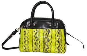 MILLY Watersnake Handbag Snakeskin Satchel in LIME GREEN with Black Accent, Silver Hardware
