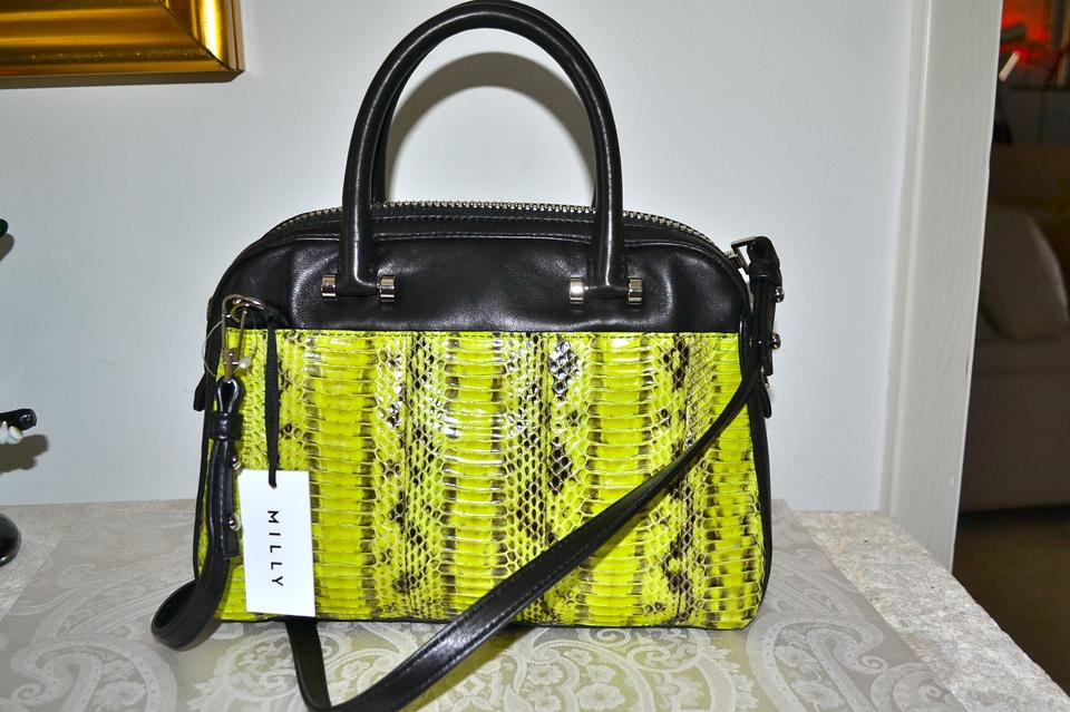 e34d3d149cd17d MILLY New Mercer Limeade Lime Green with Black Accent Silver Hardware  Lambskin Leather and Watersnake Panel Satchel