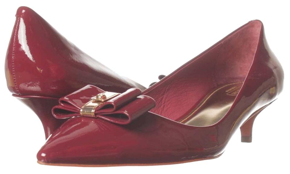 ed82315a3ca2 Coach Red Mandy Burgundy Port Patent Bow Detail Pointy Toe Kitten Pumps