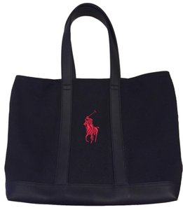 Polo Ralph Lauren Canvas Large Embroidered Thick Tote in Black
