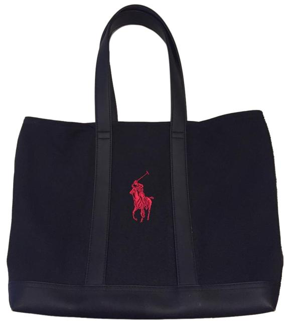 Item - Bag With Red Logo Black Canvas Tote