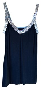 Velvet by Graham & Spencer Camisole Sequins Cotton Top Black and Silver
