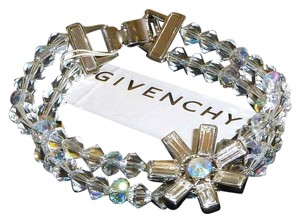Givenchy Givenchy 2-Row Sparkling Floral Clear Crystal Signed Bracelet NWT