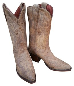 Dan Post Boots Distressed Leather Cowboy Tan Boots