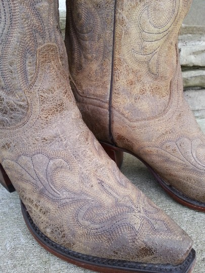 Dan Post Boots Distressed Leather Cowboy Dance Tan Boots