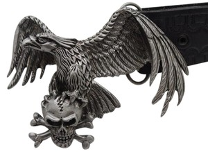Men / Women Dark Silver Belt Buckle Metal Western American Eagle on Cross Bone Skull