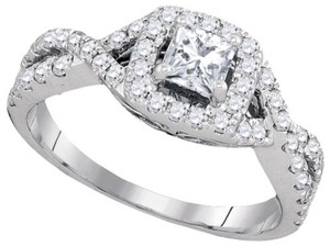 Luxury Designer 14k White Gold 1.00 Cttw Princess Cut Diamond Engagement Ring Bridal Fashion Ring