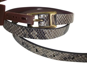Fossil Fossil Belt Python Snake Embossed - L - Dark Smoke Leather Skinny Belt BT4022