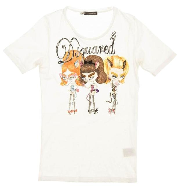 Dsquared2 White Sleeve Graphic and Embroidered Tee Shirt Size 8 (M ... 404f251958545
