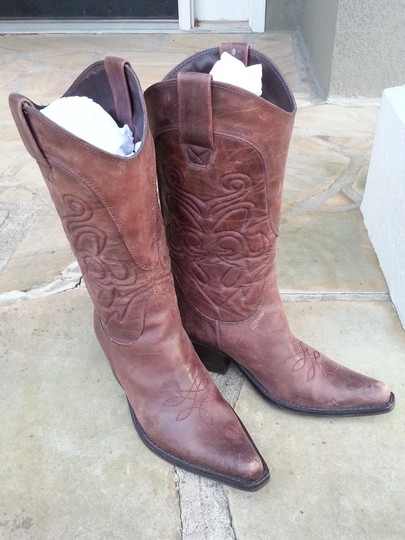 Penny Loves Kenny High Noon Leather Embroidered Brown Boots