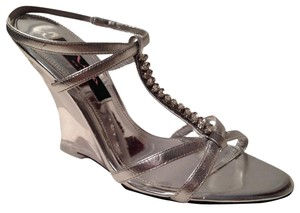 Nina Shoes New Nwt Clear Wedge Crystal Silver/Clear Wedges