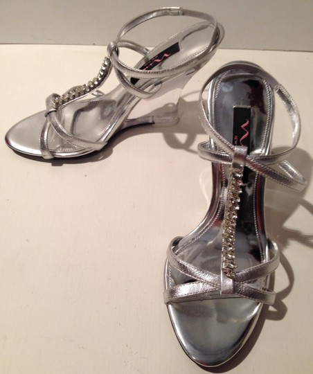 Nina Shoes New Crystal Silver/Clear Wedges