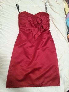 Alfred Angelo Red Satin 786427 Formal Bridesmaid/Mob Dress Size 8 (M)