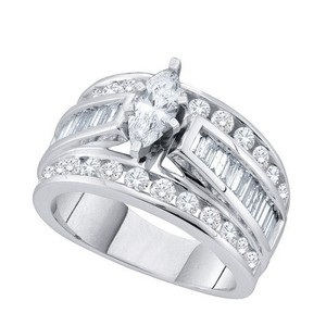 Ladies Luxury Designer 14k White Gold 1.00 Cttw Marquise Diamond Engagement Ring Bridal Fashion Ring