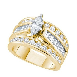 Ladies Luxury Designer 14k Yellow Gold 1.00 Cttw Marquise Diamond Engagement Ring Bridal Fashion Ring