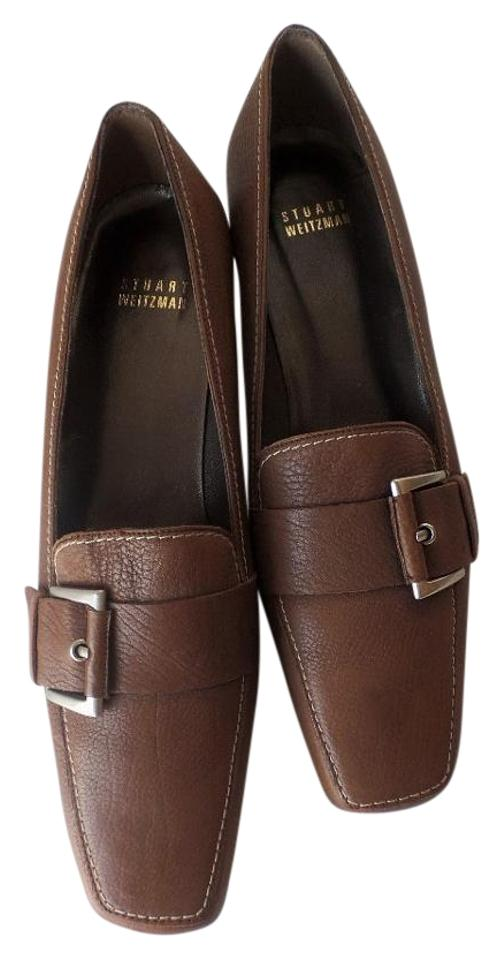 Stuart Loafer Weitzman Brown Leather Buckle Loafer Stuart Style New Pumps 5ad40f