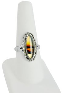 Other Vintage WM Wheeler Moss Agate Sterling Silver Ring Size 8