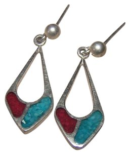 Sterling silver turquoise dangle pierced earrings free shipping