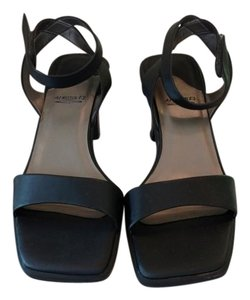Aerosoles Ankle Strap Satin Like Fabric Black Sandals