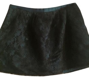 Forever 21 Teal Silk Black Lace Overlay Sexy Shortskirts Mini Skirt
