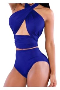 New 2pc Royal Blue Bandage Wrap Monokini Bathing Suit Tag Sz XLarge (Fits US Large Best See Measurements For Fit)