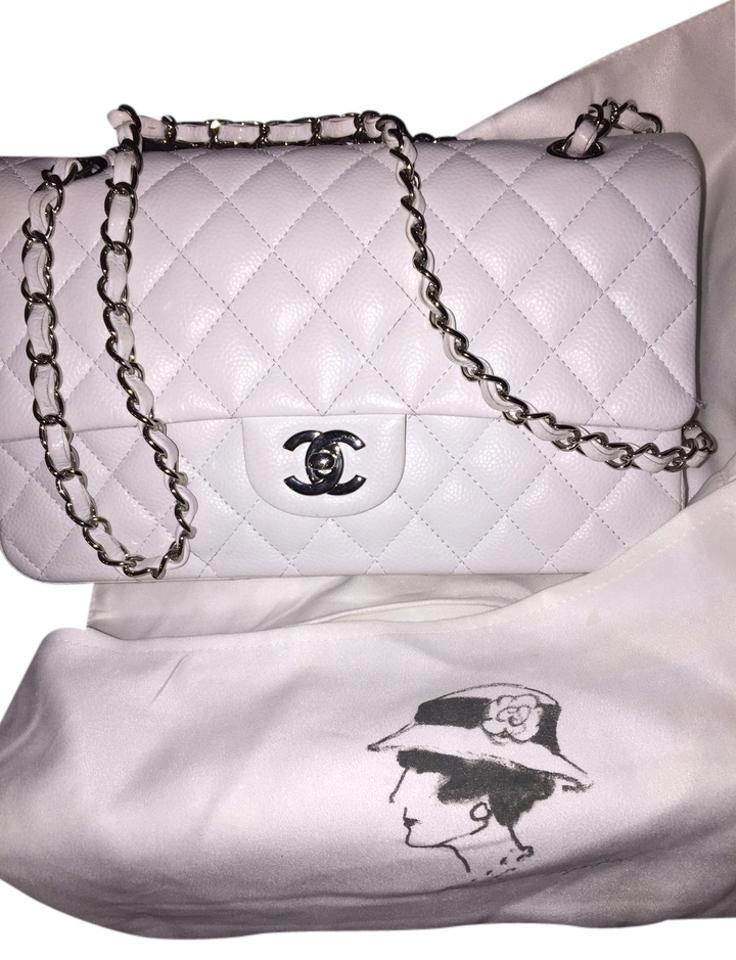 011611a43708 Chanel Classic Flap Quilted Classic Medium Double White Caviar Leather  Shoulder Bag