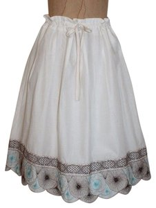 Ann Taylor Scalloped Embroidered Pleated Drawstring Romantic Skirt IVORY