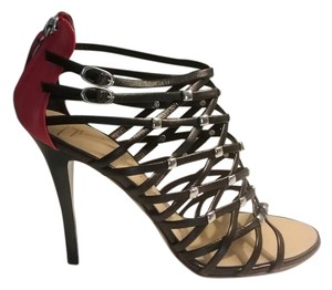 Giuseppe Zanotti Strappy Leather 4 1/2 Heel Black with red accent and silver stones Pumps