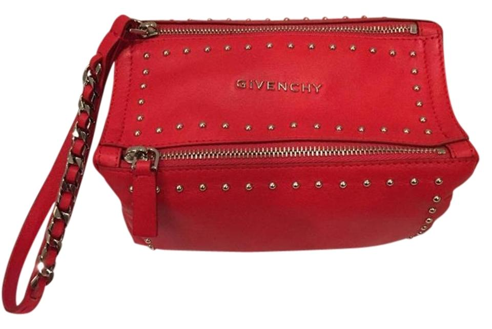 Givenchy Pandora Stud Chain Mini Zipper Wristlet Red Leather Clutch ... fb7aaabfcba2b