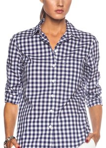 Band of Outsiders Gingham Cotton Summer Summer Preppy Button Down Shirt Blue