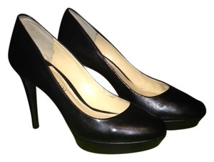 Gianni Bini Leather Work Heels Black Pumps