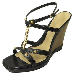 Boutique 9 Strappy T-strap High Leather Leather Sole Open Toe Ankle Strap Gold Hardware Covered Platform black Wedges