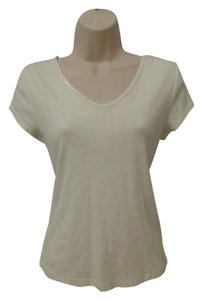 Janeville Sequin V-neck Embellished T Shirt White
