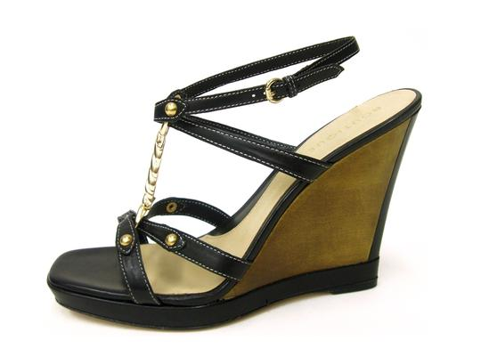 Boutique 9 Strappy T-strap High Leather Leather Sole Gold Hardware Open Toe Wood Ankle Strap black Wedges