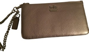 Coach Grey Chain Wristlet in Champagne