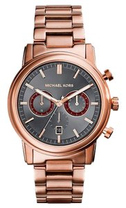 Michael Kors MICHAEL KORS Pennant Chronograph Grey Dial Rose Gold Ion-plated Men's Watch MK8370