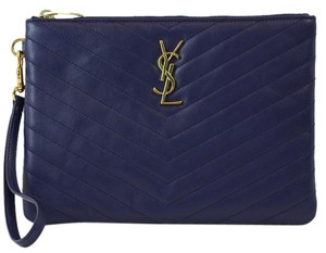 Saint Laurent Ysl 361120 Clutch Belle De Jour Wristlet in Blue