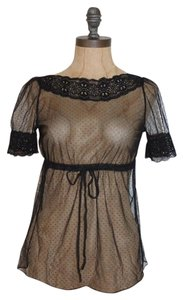 Lily White See Through Sheer Dotted Mesh Top BLACK