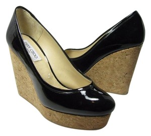 Jimmy Choo Cork Wedge Patent Heel Platform black Pumps