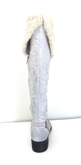 Sam Edelman Over The Knee Leather Burnished Leather Shearling Fur Trim Cuff Stacked Leather Heel Low Heel off white Boots