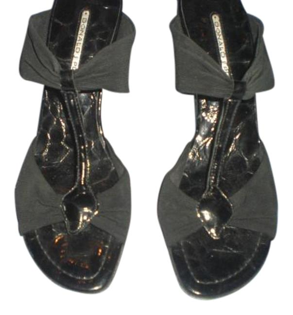 Donald J. Pliner Black Crepe/Croco Embossed Heels M Sandals Size US 8 Regular (M, B) Donald J. Pliner Black Crepe/Croco Embossed Heels M Sandals Size US 8 Regular (M, B) Image 1