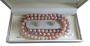 Cultured Pearl Necklace Set with Earrings and Bracelet