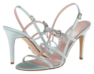 Kate Spade Satin Rhinestone Bow Heel Sandals Wedding pale blue Formal
