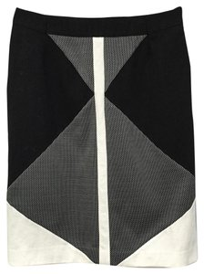 Ann Taylor Retail Prof Altered To 2 Color-blocking Ponte Knit No Signs Of Wear Skirt Black and Cream