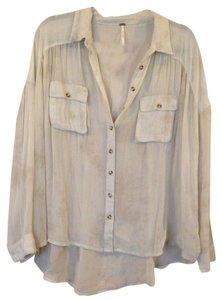 Free People Button Down Shirt Beige
